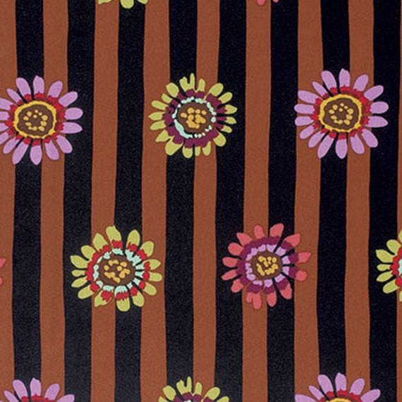 REGENCY DAISY Brown Kaffe Fassett Sold in 1/2 yd increments