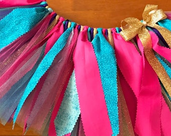 Pink, Turquoise, Purple, and Gold Scrap Fabric Tutu