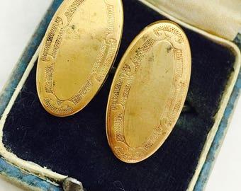 Vintage Gold Filled Etched Oval Men's Formal Wear Attire Cuff Links