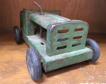 Vintage Metal Green Tractor Toy