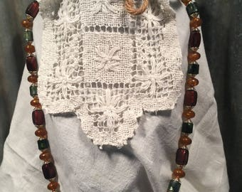Vintage Beaded Necklace in Earth Tones
