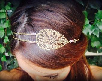 "Headband ""Clementine"" Bohemian bronze rose powder and chains"