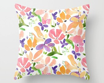 Floral Throw Pillow, watercolor flowers,  feminine, rectangle bright colorful, floral decor, pillows, throw pillow, flowery