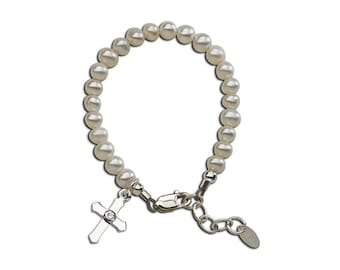 Sterling Silver Freshwater Pearl Baptism or First Communion Bracelet for Girls with Cross Charm (Lacey)