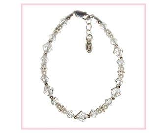 Sterling Silver LDS Baptism Bracelet with Crystals (BPBCC-08)