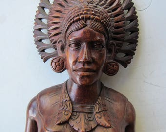 Hand Carved Balinese Ornate Wood Bust