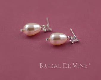 Pretty Bridal Wedding Drop Swarovski Pearl Earrings on a Cubic Zirconia Stud