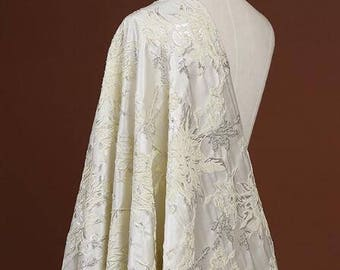 "Light yellow Silk Jacquard Fabric Brocade Fabric Bridal Wedding Dress -FSMIL-by 1/2m-51""wide/ 130 cm"