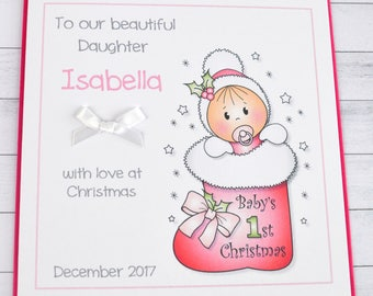 Handmade Personalised Baby Girl First 1st Christmas Card