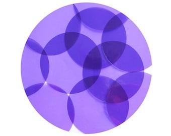 Round Vinyl Shape No Hole 70mm Purple Go Go Transparent
