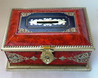 Metal box for candy c 1940-50 open coin Bank piggy bank, size 6,7/8 inches long.