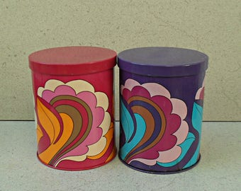Vintage tin coffee canisters , psychedelic flower tin kitchen canisters ,Tchibo coffee psychedelic tin canisters ,Germany 1970s.