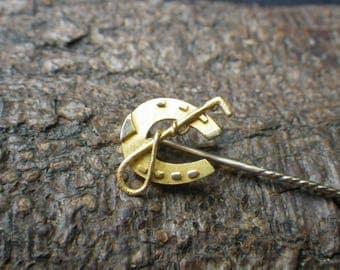 Antique 15ct Yellow Gold Horseshoe Crop Stickpin Cravat Pin