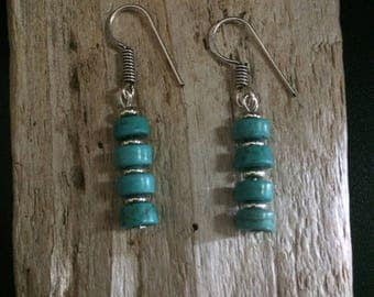 Native American Handcrafted Earrings, Southwest Turquoise and Sterling Earrings,