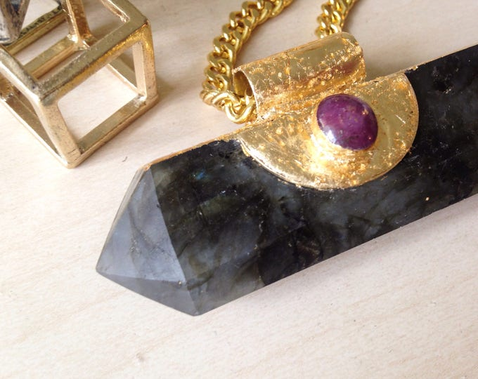 Labradorite Wand With Star Ruby and Silver Leaf Necklace, Double Terminated Labradorite Wand