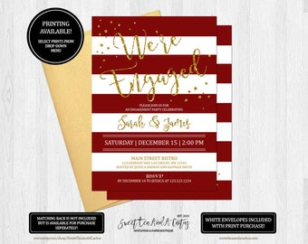 Red Stripe Engagement Party Invitation Christmas Holiday Gold Glitter We're Engaged Invites Printable Digital File or Printed Invitations
