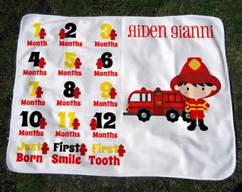 Personalized Firefighter Monthly Baby Blanket - Boys' Fireman Growth Chart Blanket - Baby Month Blanket - Baby Photo Prop - Baby Shower Gift