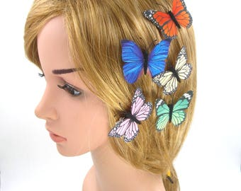 4 Pcs Butterfly Hair Clip Pins,Silk Fabric Butterfly Brooch,Girls Women,Adult,Wedding Bride Bridesmaid Hair Piece,Pink,Blue,White,Purple,Red