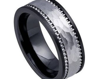 High Polished Black Ceramic Ring Base with Textured Ridged Hammered Tungsten Carbide Inlay – 8mm