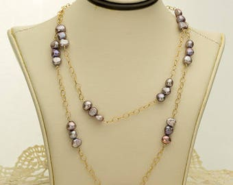 Mauve Pearl Necklace 41.25ct (B84)