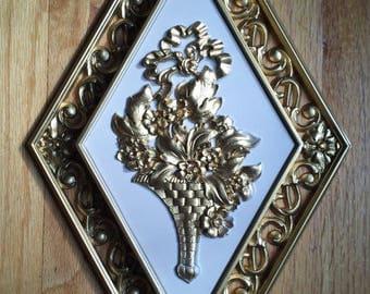 ON SALE Dart Wall Plaque Cornucopia Symbol 60s Hollywood Regency Gold White