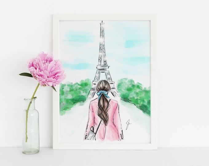 Featured listing image: Pink and Paris (Fashion Illustration Print)