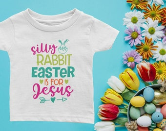 Infant baby jesus etsy jesus baby shirt easter baby shirt silly rabbit easter is for jesus easter negle Image collections