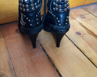 Vintage Faux Leather Military Boots, High Heeled Ankle Boots, Studded Boots, Dominatrix