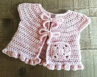 Ready to Ship!! 3-6 mos.Crocheted baby cardigan, baby vest, baby sweater, baby gift, baby shower, baby girl, baby accessory