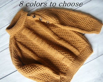 Hand Knit Baby Sweater, Baby Boy Sweater Knit, Mustard Sweater for Boy, Baby Boy Mustard Sweater, Baby Boy Sweater Hand Knit