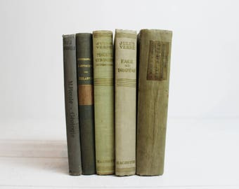Khaki Vintage Books by Color, Antique Books Green Vintage Books for Decorating Green Book Bundle Vintage Book Set Turquoise Decorative Books