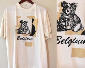 X Large Cream Brussel Belgium Bear T-shirt Tourist Souvenir Extra Large XL