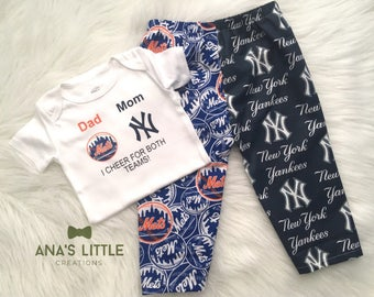Custom House Divided Bodysuit ( New York Mets- New York Yankees) I Cheer For Both Teams and Pants or Shorts 2pc Set