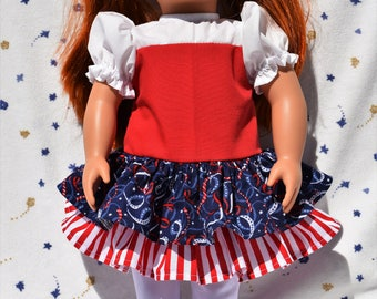 Pretty 18 inch doll dress in red, white and blue stars and stripes