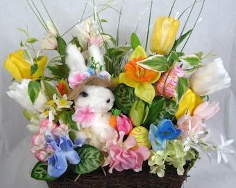 Bunny Floral Centerpiece, Easter Centerpiece, Bunny Decor, Holiday Centerpiece