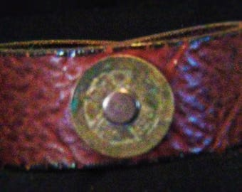Recycled Leather Bracelet W/Bronze I-Ching Coin