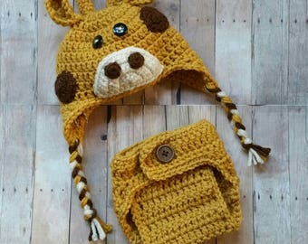 Crochet Giraffe Hat and Diaper Cover, Newborn Photo Prop, Baby Giraffe Beanie, Crochet Diaper Cover, Made to Order