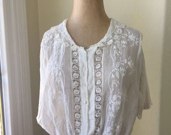 Vintage Victorian Embroidered Blouse Sheer