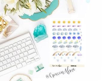 Decorative stickers for calendar, diary, or scrapbooking. Planner stickers. Weather, rain, Sun.