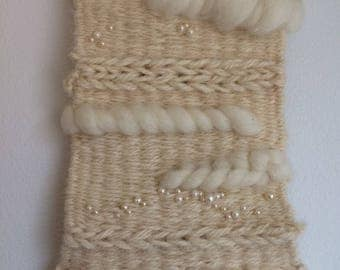 Ivory, handwoven wool wall hanging