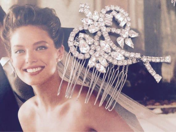 Bridal Headpiece, OOAK, Bridal comb, Vintage Brooch, Rhinestone Comb, Bridal Hair comb, Hair Jewelry,  Vintage Repurposed Brooch -ARABESQUE