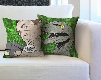 Clever Girl Cushion Set Funny Raptor Pillow Nerdy World Home Decor Geeky  Homeware Geek Love Sofa