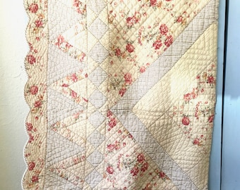 Heavy Shabby Chic Floral Twin Quilt, Victorian Heart, Decorative Bedding