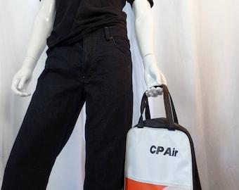 vintage 70s CP AIR 2 handle vinyl zip tote bag/ black orange white motif/deadstock: Justin would love it