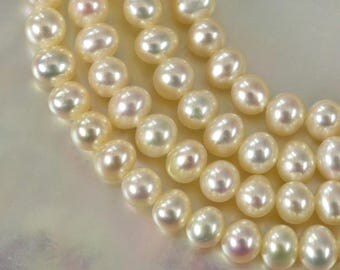 "16.14"" FRESHWATER PEARLS Strand Lustrous Cream White Potato Nugget China 10.05 g"
