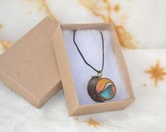 Woodburned Wave Necklace