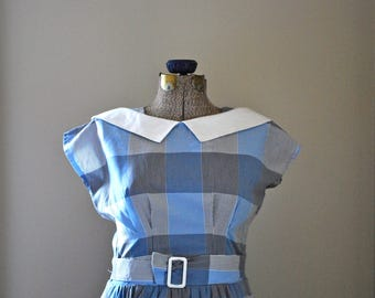 Blue & grey plaid dress with sailor inspired collar