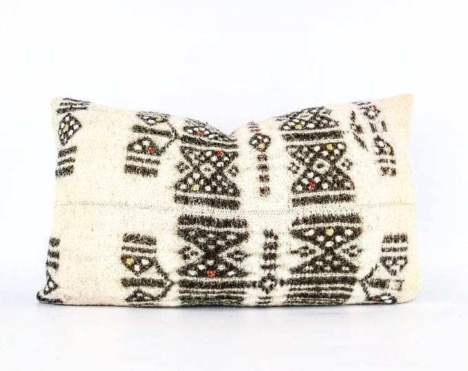 Vintage Wool African Embroidered Fulani Blanket Textile Lumbar Pillow Cover 12x20