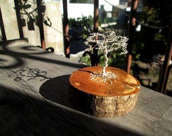 Tree of life wire sculpture on a oak tree wood log. miniature bonsai. silver wire tree sculpture. woodart sculpture. handmade