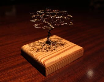 Tree of life german silver, brass and copper wire sculpture on wood. Bonsai tree wire sculpture. tree of life miniature.
